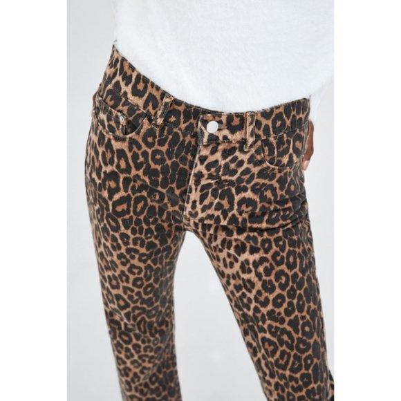 NWT Zara Hi-Rise skinny ankle Leopard Stretch Jean